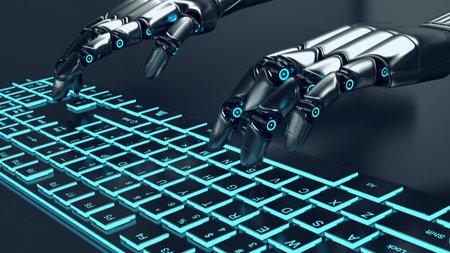 Futuristic metal grey robot typing on an illuminated keyboard