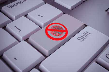 Computer keyboard with prohibition signal against virus as key. 3d rendering