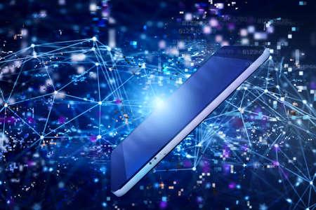 Smartphone shares digital data on internet network