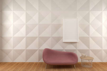 White Wall Panel Living Room with Comfortable Couch, 3D Render