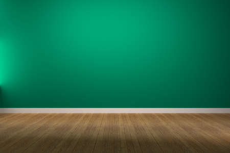 Empty Green Wall with wood Floring, 3D render