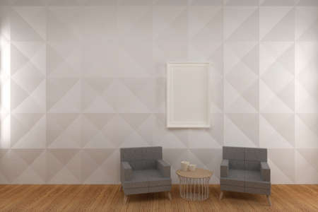 Blank Photo Frame on White Pattern Panel Wall living room with Gray Chair, 3D Render.