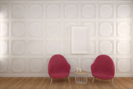 Blank Photo Frame on White Wainscot Wall living room with Chair, 3D render.