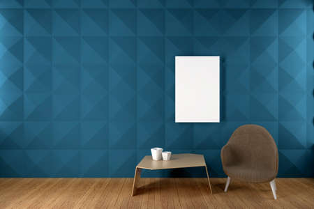 Blue Wall Living Room with panel and blank frame Mockup, 3D Render