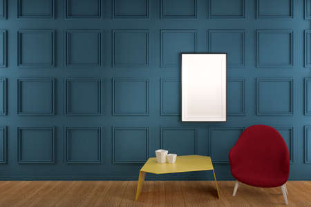 Frame on Blue Wainscot Wall Panel with yellow table and red coffee chair