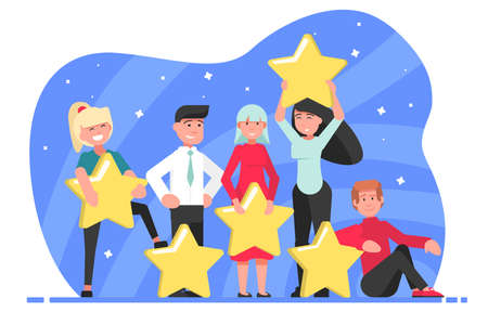 Star, rating, top, estimation, certification concept. Young people women men boys girls hold ranking stars together. Consumer feedback customer evaluation and satisfaction level with positive voting. Stock Illustratie