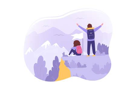 Travelling, tourism, nature, mountaineering, hiking concept Vektoros illusztráció
