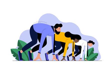 Multiethnicity, business, startup, sport, race, motivation, competition concept Ilustracje wektorowe