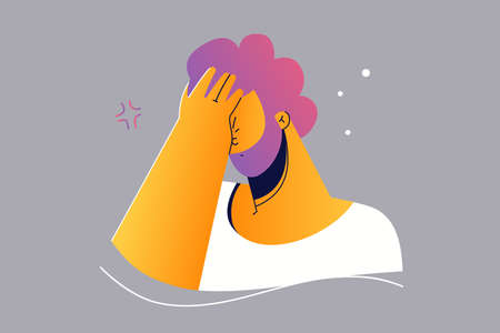 Emotion, face, expreion, curiosity, motivation, search, question concept. Young serious curious woman girl teen cartoon character holding hand above eyes and peering into distance, looking far away.