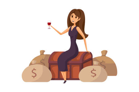 Money, success, profit, wealth, business concept. Young happy smiling rich businesswoman in dress manager cartoon character sitting on money chest with glass of wine. Financial luck or income raising.