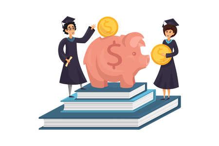 Capital, money, education, loan concept. Man and woman students cartoon characters earning saving cash coins for college or university in pig moneybox. Study investment business or payment obligation. 向量圖像