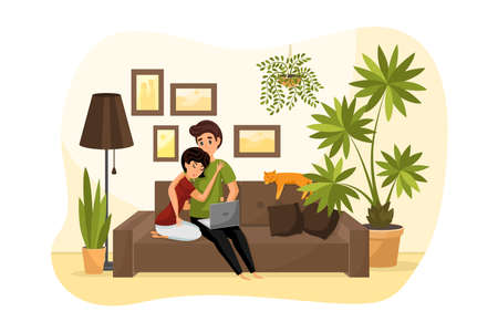Quarantine, coronavirus, isolation, covid19 concept. Young hugging couple man woman boyfriend girlfriend sitting at home on couch sofa with cat and watching videos. Leisure time on covid19 lockdown.