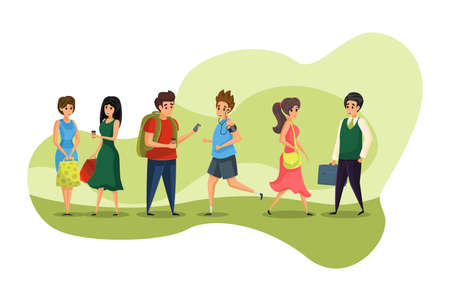 People, communication, meeting, shopping, business, education concept. Griup of walking young people businessman women boys teenagers stand and communicating. Everyday life in urban city illustration.
