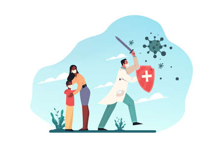 Healthcare, quarantine, covid19, infection, desease, coronavirus, protection concept. Man doctor with shield and sword protects woman boy mother son from coronavirus infection. Struggle with 2019ncov.