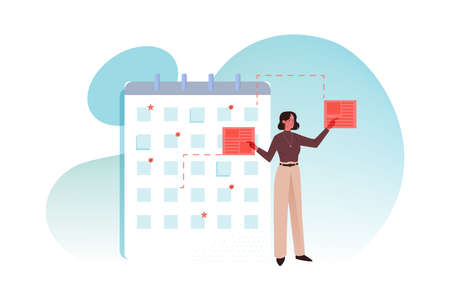 Multistasking, time schedule, management, big data business concept. Young businesswoman clerk or manager doing tasks simultaneously. Making calendar business plan or time schedule checklist.