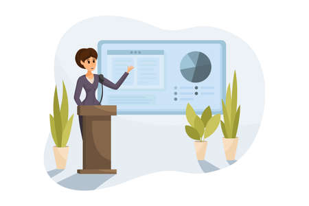 Business, presentation, training, analysis concept. Young happy businesswoman office clerk manager employee cartoon character demonstrates showcase. Preview of project report and corporate conference.