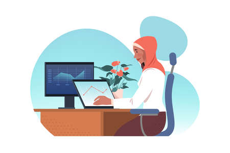 Freelance, remote work, business data analysis, coding concept. Young arab businesswoman muslim in hidjab freelancer working home remotely, coding programs. Business graph analysis and data research 向量圖像