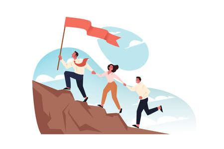 Team, goal, motivation, business startup, leadership concept. Team of business people managers climb mountain holds hands together. Motivated businessman boss leads employees with flag forward to goal