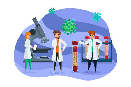 Science, vaccination, coronaviru, medicine, team, healthcare concept. Group of men women scientists doctors make laboratory research finding vaccine from covid19. Medical cure from dangerous bacteries