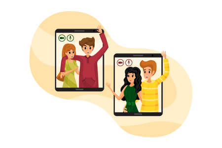 Technology, communication, chat, quarantine, coronavirus concept. Group of young people couples in love men women making video call in virtual window frames. Gathering together online on lockdown.