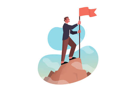 Leadership, conquest, goal achievement, success, business concept. Young businessman boss clerk or manager leader conqueror standing on mountain top with flag. Business success and goal achievement.