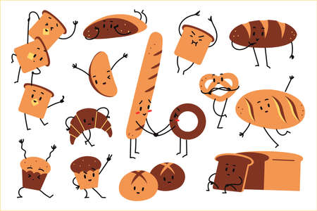 Bread doolde set. Hand drawn doodle vegetarian food mascots happy fruits emotions bread toast croissant donut on white background. Baked wheat agricultural products illustration.