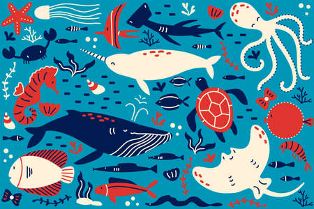 Marine life doodle set. Collection of hand drawn templates patterns of different sea and ocean fish sharks turtles octopus oyster. Animals in wildlife enviroment nature illustration.