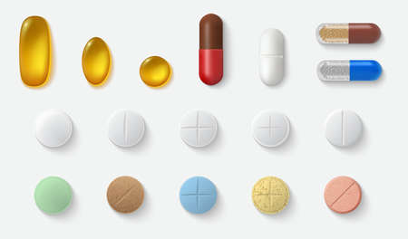 Realistic pills set collection. Mockup template of realism style drawn medical treatment capsules tablets aspirin antibiotics vitamins on white background. Healthcare and medicine support illustration Stock fotó - 155541372