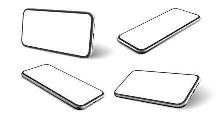 Realistic mobile phones set. Collection of realism style drawn cellphone frame with blank display template. Illustration of portable information smartphone device from different angles mockup.