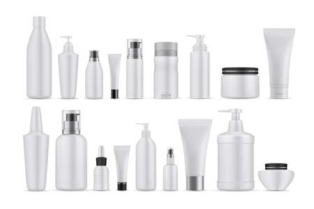 Realsitic cosmetic lotions set. Collection of realism style drawn plastic bottles for beauty and skincare body facial liquid soaps. Illustration of container packages and creams on white background.