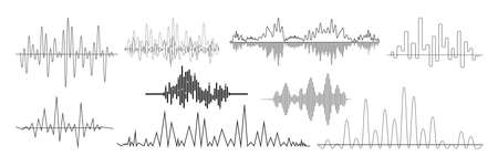 Realistic sound waves set. Collection of audio different frequency radio music signals. Illustration of digital equalizer technologies and pulsing lines or voice recording beats vibrations mockup.