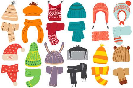 Winter hats doodle set Vector Illustration