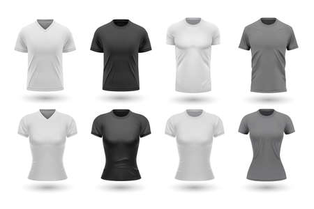Realistic male shirt mockups set. Collection of realism style drawn tshirt templates front design isolated in raw. Illustration of black gray version of jersey for men women on white background. Vektorové ilustrace