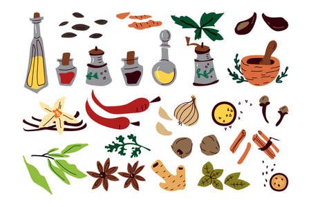 Aromatic spices doodle print set Ilustracja