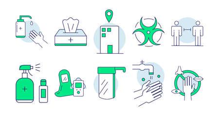 Hygiene icon print doodle set Ilustración de vector