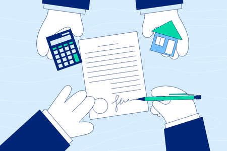 Deal of buying, renting or leasing accommodation concept