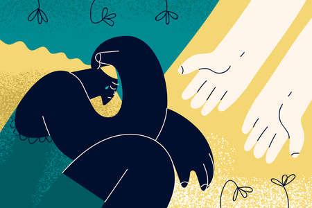 Depression, helping hand, grief concept Vecteurs