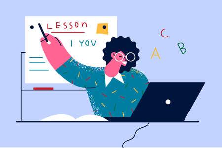 Modern education online remotely concept Vector Illustratie