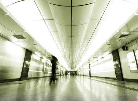 thru: People walking thru path way to somewhere