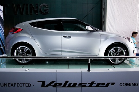 Kuala Lumpur, Malaysia - November 12, 2011 - Hyundai Veloster were displayed at the Car Of The Year Autoshow 2011.