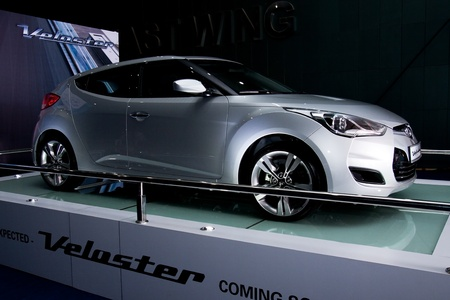 Kuala Lumpur, Malaysia - November 12, 2011 - The new silver coloured Hyundai Veloster were displayed at the Car Of The Year Autoshow 2011. Editorial
