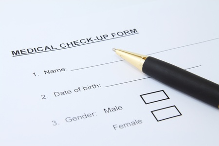 Close up of patient medical check-up form