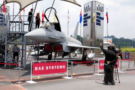 avionics: KUALA LUMPUR, MALAYSIA-APRIL 16: A full-sized replica of the Eurofighter Typhoon on display for public viewing at the Defence Services Asia 2012 on APRIL 16, 2012 in Kuala Lumpur, Malaysia