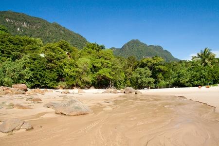 Image of Damai beach and legendary Mount Santubong, Sarawak, Malaysia