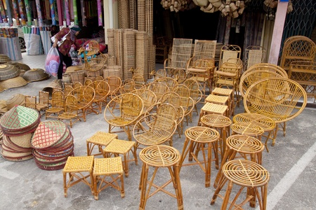 SARAWAK, MALAYSIA-JUNE 2: Furniture and household items made from rattan and bamboo on sale at the Serikin weekend market near MalaysiaIndonesia border on June 2, 2012 Editorial