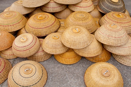 Image of traditional food cover made from rattan for sale at local market in Sarawak, East Malaysia