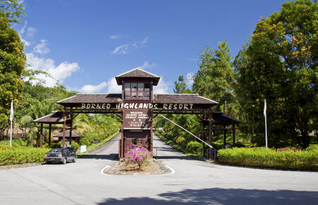 SARAWAK, MALAYSIA - MAY 31  View of entrance gate to Borneo Highland Resort in Sarawak, Malaysia on May 31, 2014  The resort stands at the height of 1,000 metres above sea level