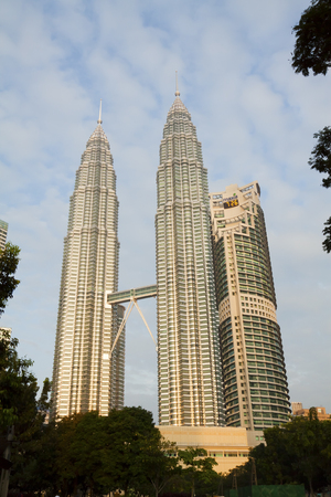 KUALA LUMPUR, MALAYSIA - NOVEMBER 19  Morning view of Petronas Twin Towers on November 19, 2011 in Kuala Lumpur, Malaysia  The towers were the tallest buildings in the world for six years, until Taipei 101 was completed in 2004