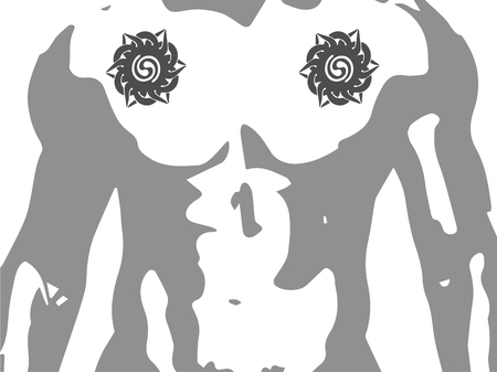Iban or Sea Dayak tribal tattoo patterns fit for upper chest