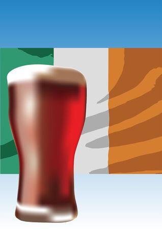 Red ale beer with Irish flag illustration Illustration